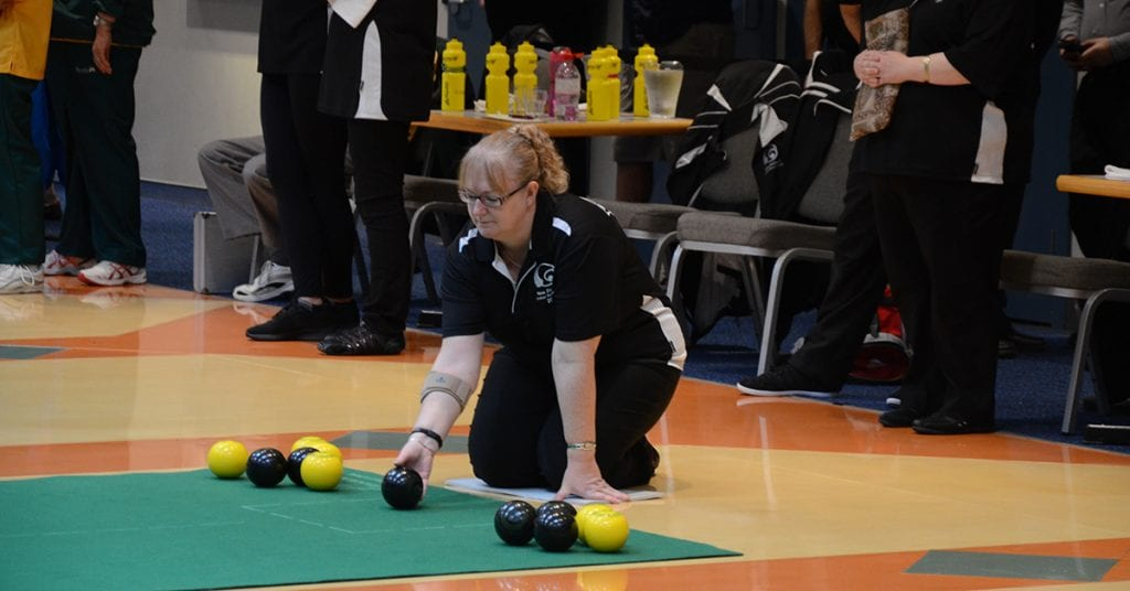 Fiona represents New Zealand in indoor bowls with the Mat Blacks Ma