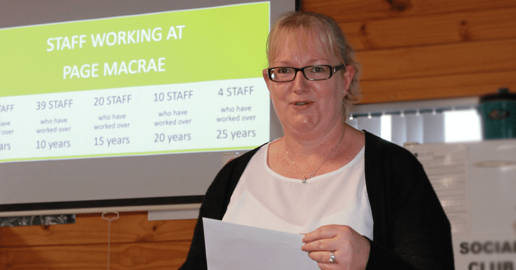 Page Macrae Engineering Office Manager Fiona Keegan celebrates 20 years