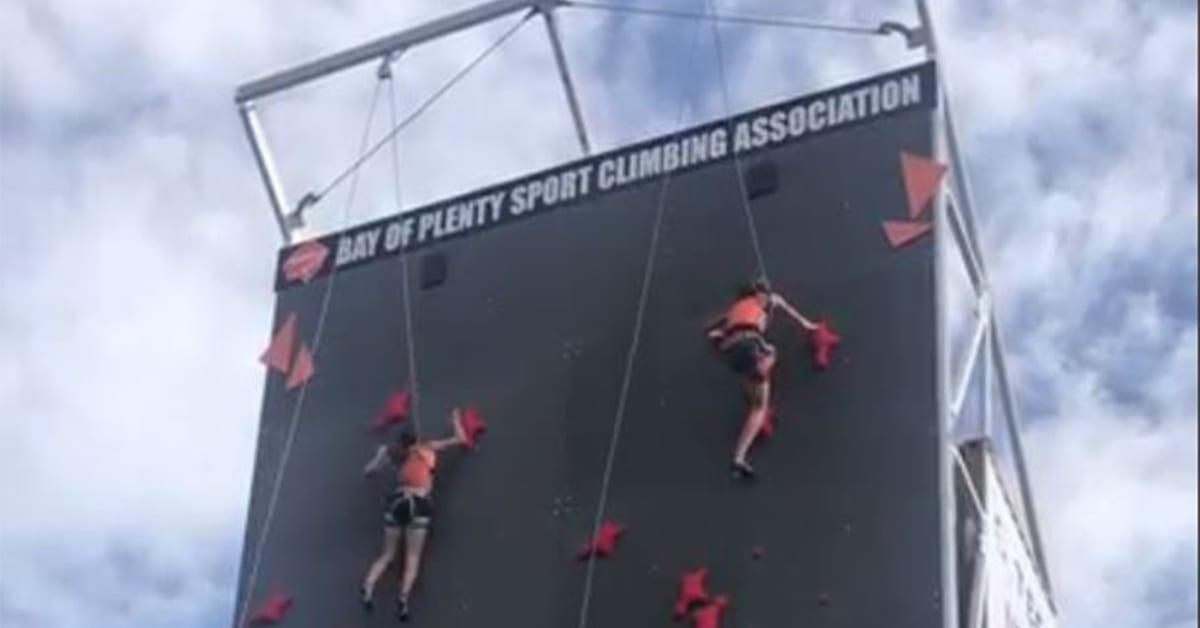 Page Macrae sponsor climbing wall